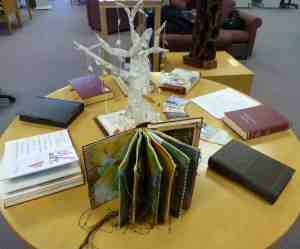 Altered books by the students, on display at our end-of-term library exhibition
