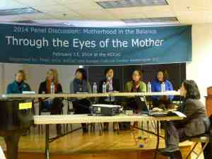 "Panel discussion at the Korean Cultural Center, for the ""Through the Eyes of the Mother"" exhibition, curated by Hye-Seong Tak Lee (center)."