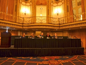 "CAA gave us a grand (and enormous!) ballroom for the WCA-sponsored panel on ""The Maternal Body Exposed."" Many thanks to my very well-spoken panelists Melissa Gwyn, Anna Hennessey, Christina Stahr, and Tom Nys."